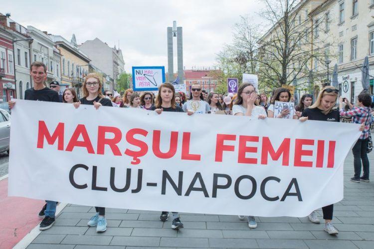A nők jogaiért szervezett kolozsvári felvonulás
